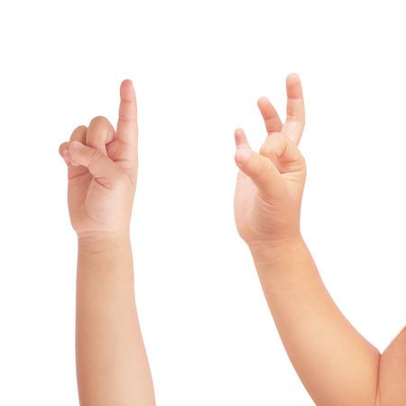 jardin de infantes: Punto de la mano de Kid y s�mbolo de la autorizaci�n en blanco aislado