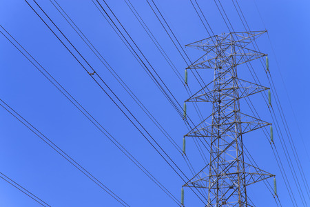 electricity pole: High power electricity pole with clear blue sky