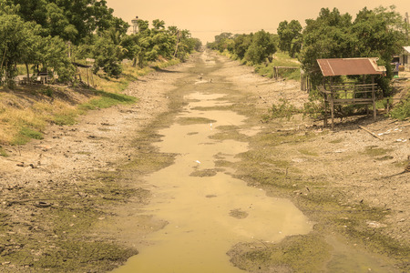 desertification: No water in the canal and crack soil for saving water project