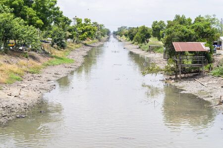 desertification: Canal after raining for saving water conceot