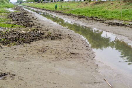 soil texture: No water in the canal and no rain Stock Photo