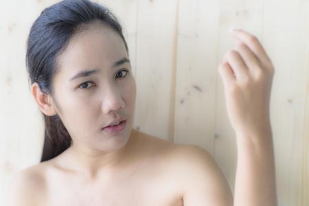 woman portrait with blur wood texture
