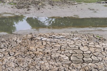 desertification: No water in the river and crack soil