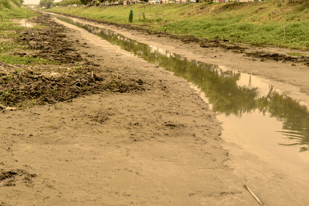 desertification: No water in the canal and no rain Stock Photo