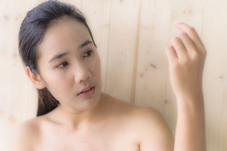 take a bath: Woman see her hand while take a bath portrait Stock Photo