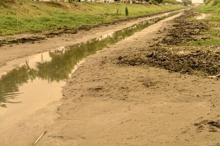 desertification: No water in the canal sepia mode