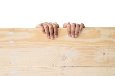 Hand holding wood with isolated white background Stock Photo