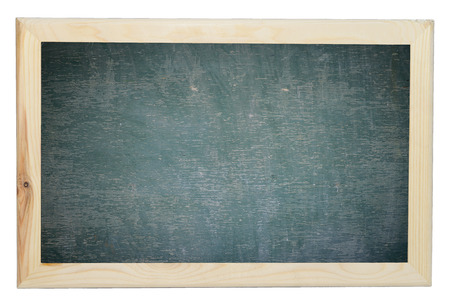 Green chalkboard texture with wood frame on isolated white Stock Photo