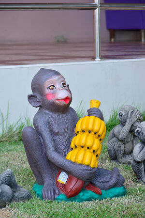 happy monkey with bananas  photo