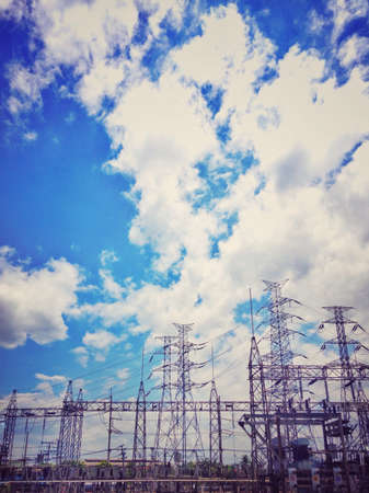 substation: High voltage Substation on sky background vintage style.