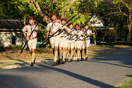 regularity: Chonburi, Thailand - April 4: unidentified Thai Boy Scout and in 20th THAILAND NATIONAL SCOUT JAMBOREE as part of the study on April 4,2015 in Vajiravudh Scout Camp, Chonburi, Thailand.