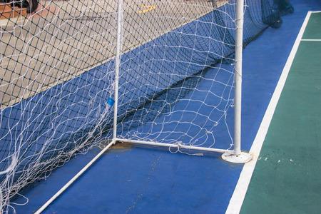futsal: Goal Nets Futsal in futsal field. futsal soccer goal Stock Photo
