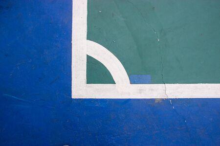 futsal: futsal court indoor sport stadium with mark, white line in the stadium. Stock Photo