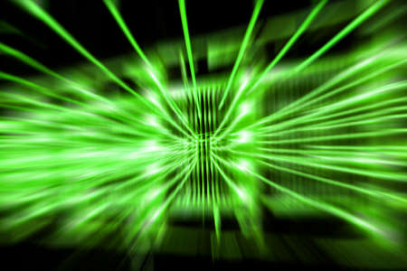 green tone: zoom blur abstract background. the light trails on black background. green tone
