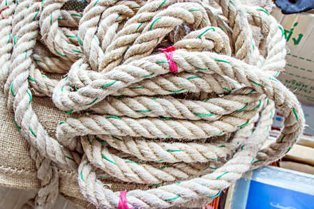 climbing cable: Rope placed messily with background texture Stock Photo