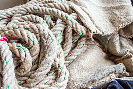 messily: Rope placed messily with background texture Stock Photo