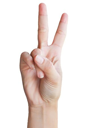 asl: symbol sign language number two Stock Photo