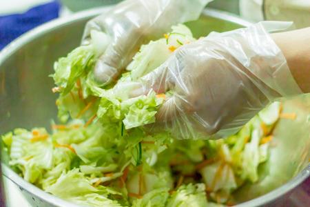 making kimchi process, salted napa cabbage, korean food