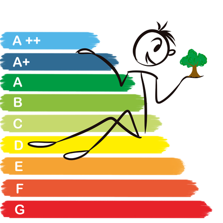 small tree: smiling stickman sitting on energy efficiency chart holding a small tree in his hand