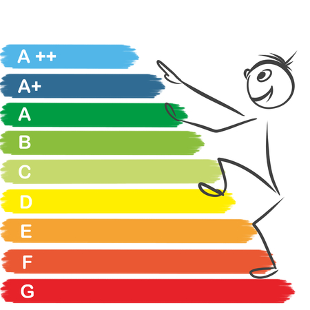 climbing up: smiling stickman climbing up on energy chart pointing upwards Stock Photo