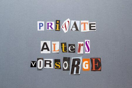 socially: Private Altersrorsorge Stock Photo