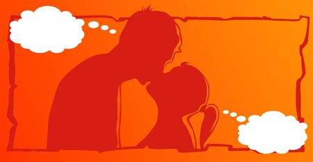 one on one meeting: Kissing couple Illustration