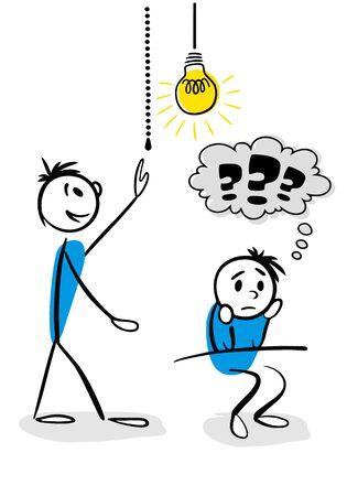 Stick man concept of teamwork
