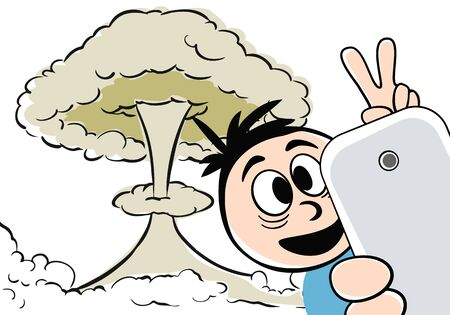 person standing in front of a nuclear explosion taking a selfie