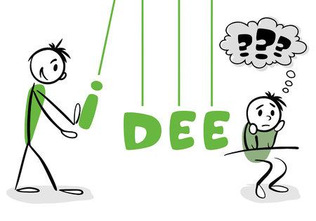 blockade: Stick man concept of teamwork with German word idea (idea) Illustration