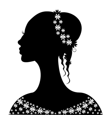 beautiful bride, pretty women, black hair, young girl Vector