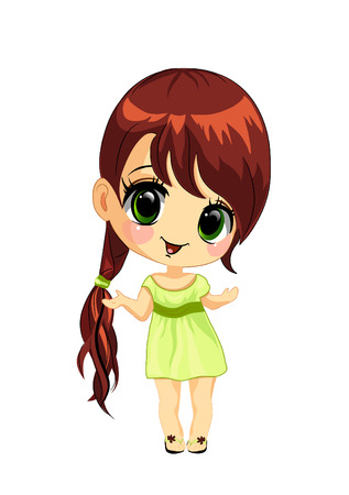 girl in red dress: Vector illustration of a happy little girl  Illustration