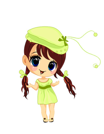 kid portrait: Vector illustration of a happy little girl  Illustration