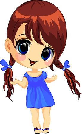sonrisa hermosa: Ilustraci�n vectorial de una ni�a feliz