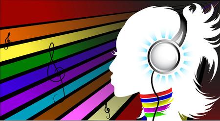 Template flyer voor feest. muziek meisje. gekleurde achtergrond.