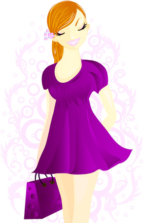Woman with shopping bags in violet dress. Vector
