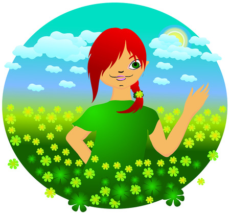 summer day. little girl with red hair. Vector