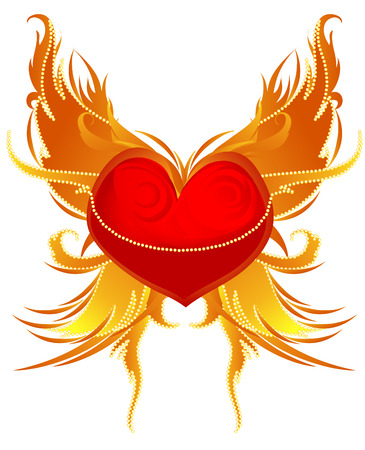 white background with winged heart in vector format. Vector