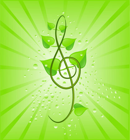 green leaf with drops and eco sign Vector