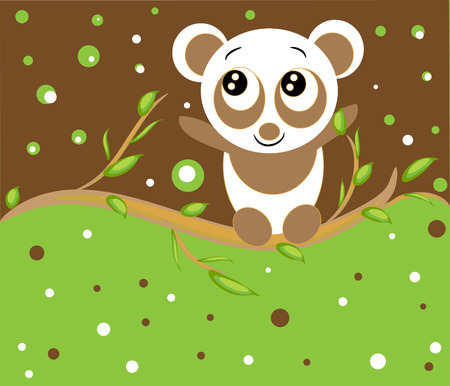 little panda in the forest. funny animal. Vector