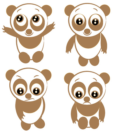 little panda in the white background. funny animal. Vector