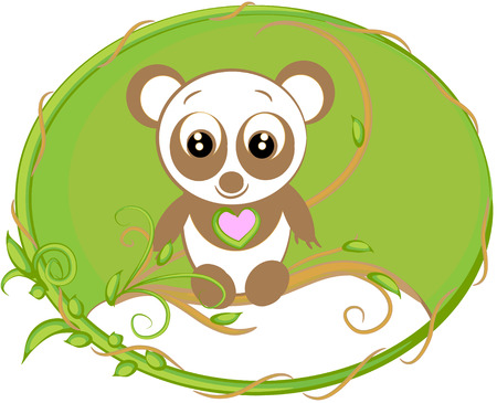 little panda in the forest. funny animal. Stock Vector - 10783069