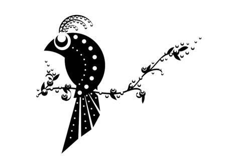 agriculture wallpaper: vector silhouette of bird on the  tree Illustration