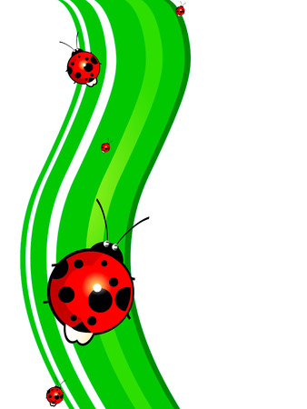 ladybird on the green wave Stock Vector - 10783204