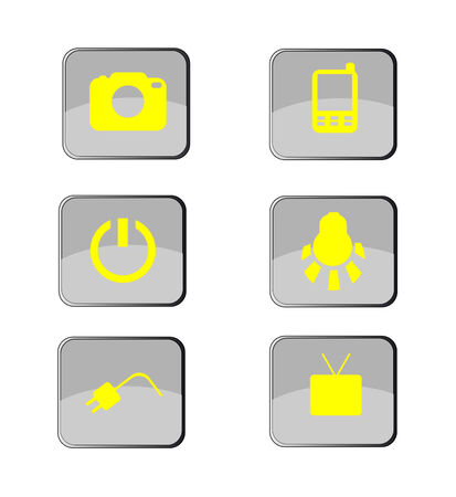 mobil: Electronics icon set. vector Button