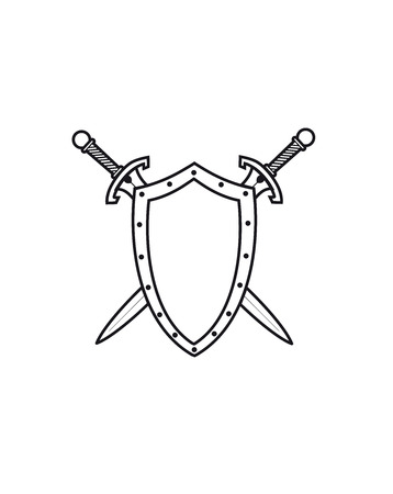 shield and sword: Coat of arms. Vector illustration.