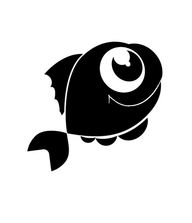 outline fish: beautiful smal vector fish in sea Illustration