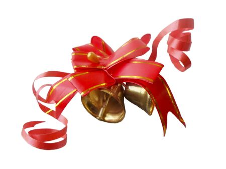 Red bow with bells isolated on white background
