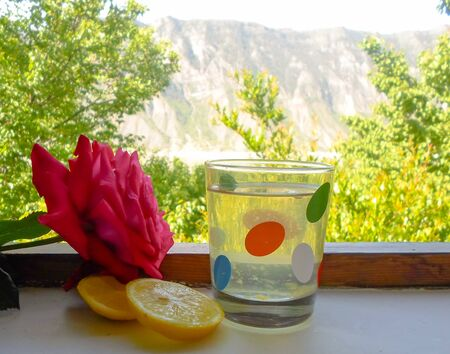 red rose, lemon juice and sliced lemon on the window leading to the garden