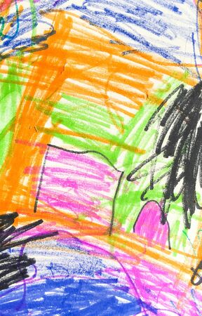 drawing in black and blue pencils on white paper. children's creativity on a piece of paper