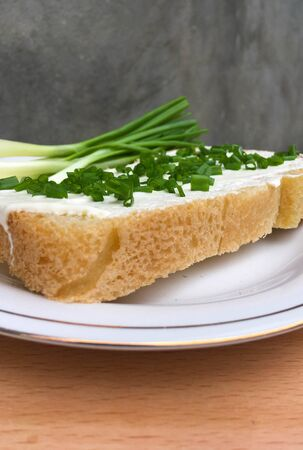 sandwich with bread with sour cream and onions on a plate on a wooden table. healthy breakfast for every day Foto de archivo
